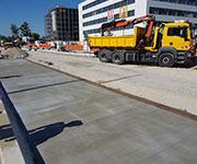 MSB Rüttelbohle Beton Abziehen Strabag Bushaltestelle Erlangen